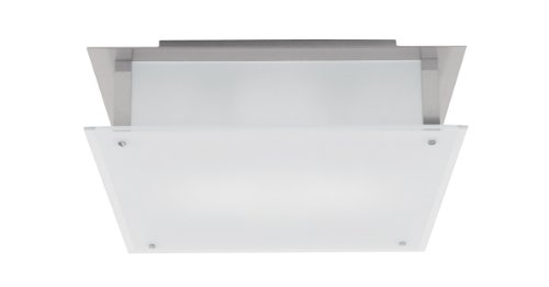 Vision - Flush Mount - Brushed Steel Finish - Frosted Glass Shade -