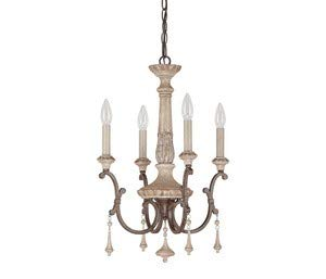 Capital Lighting 4094FO Chateau 4-Light Chandelier, French Oak Finish with Accent Fobs