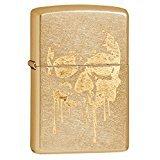Zippo Grunge Skull Pocket Lighter, Gold -