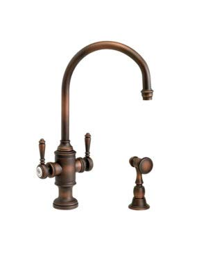 (Waterstone 8030-1-CHB Hampton Two Handle Kitchen Faucet w/Side Spray Chocolate Bronze)