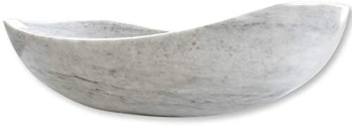 Polished Marble Bathroom Vessel Sink, Oval Canoe Shape, 100 Natural Stone, Hand Carved, Free Matching Soap Tray Marble Light Gray