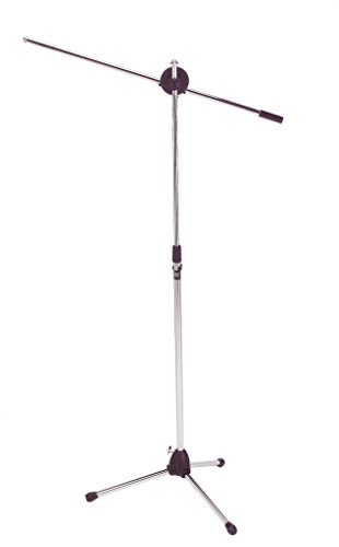 Audio2000'S tm AST4322 Chrome, Floor Tripod Microphone Stand with Boom (Silver Mic Stand)