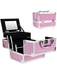- Mini Makeup Train Case with Mirror Portable Aluminum Cosmetic Organizer Box 2 Trays Pink