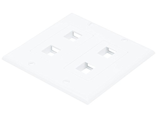 Monoprice 2-Gang Wall Plate for Keystone, 4 Hole - White