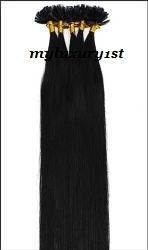 "100 Strands Keratip #1 Jet Black Nail U Tip 20"" Human Hair Extensions 50 Grams"