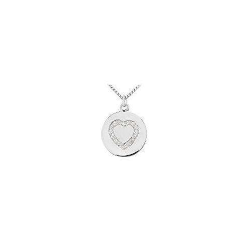 Diamond Heart Disc Pendant 14K White Gold 0.15 CT Diamonds
