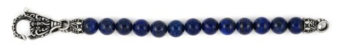 Sterling Silver Twisted Blade Intricate Lapis Bead Bracelet 8'' by CloseoutWarehouse (Image #1)