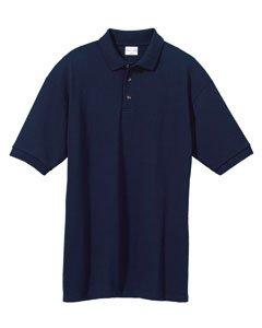 Anvil Adult Ring-Spun Pique Polo Sport Shirt, Navy, ()