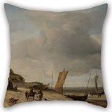 Scheveningen Rose (Pillowcase 20 X 20 Inches / 50 By 50 Cm(both Sides) Nice Choice For Saloon,boys,wedding,bedding,relatives,birthday Oil Painting Velde, Adriaen Van De - Dunes At Scheveningen)