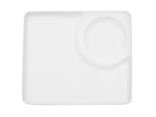 CAC China RCN-P9 Clinton Rolled Edge 9-Inch Porcelain Square Plate with Round Sauce Compartment, Super White, Box of 24