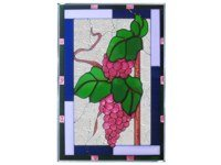 Grapes Plum Green Border Vertical Art Glass Panel