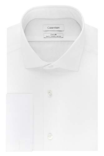 Calvin Klein Men's Dress Shirt Slim Fit Non Iron Stretch Solid French Cuff