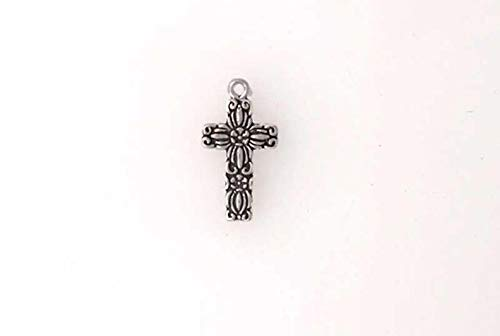Sterling Silver Detailed Floral Cross Charm