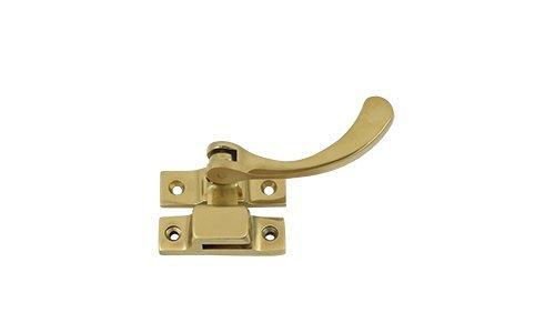 4.5 in. Reversible Window Lock w Casement Fastener (Set of 10) (Polished Brass)