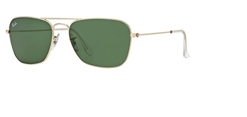 Ray Ban RB3136 CARAVAN 001 55M Arista/Crystal Green Sunglasses For Men For ()