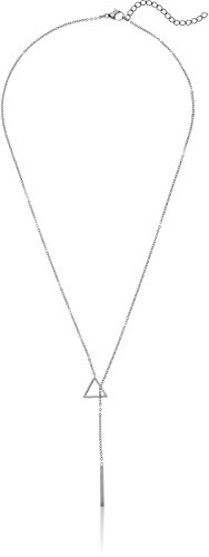 (ELYA Jewelry Womens Polished Triangle Stainless Steel Y Shaped Necklace, White, One Size)