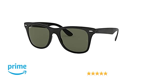 42b280ab40 Amazon.com  New Ray Ban Liteforce Wayfarer Tech RB4195 601S9A Black Polar  Green 52mm Sunglasses  Shoes
