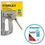 Stanley TR110 Heavy Duty Steel Staple Gun 84 Staple Capacity, Squeeze Trigger and T50#504 Box of Staples ()