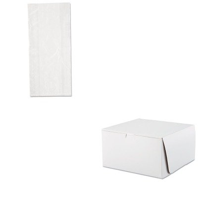 KITIBSPB080418SCH0977 - Value Kit - Bakery Box 10x10x5.5 White, 100 (SCH0977) and Bag Food Util 8x4x18 .85mil 8qt Std 1000/cs (IBSPB080418)