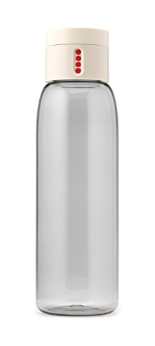 Joseph Joseph 81047 Dot Hydration-Tracking Water Bottle Counts Water Intake Tracks Consumption On Lid Twist Top, 20-ounce, White White Dots Water Bottle