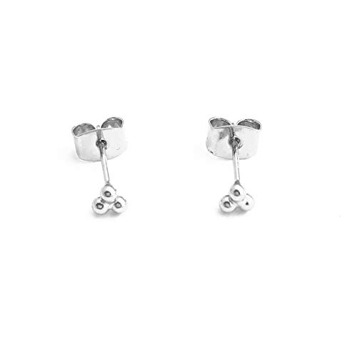 (HONEYCAT Tiny Trinity Ball Stud Earrings in Silver (Rhodium Plated) | Minimalist, Delicate Jewelry (S))