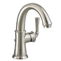 Portsmouth Monoblock Single Hole 1-Handle Mid-Arc Bathroom Faucet with Speed Connect Drain in Satin Nickel