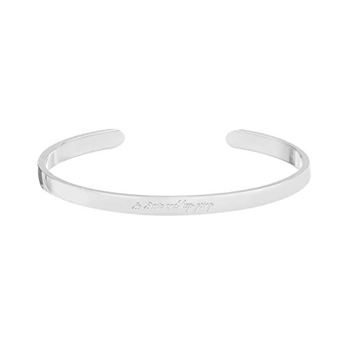 WIGERLON Cuff Bracelet Bangle Engraved Personalized Mantra Inspirational Daily Reminder for Women Girls Gift for You Love Mom Daughter Sisters and Friends Braver Color Silver