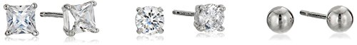 Sterling Silver AAA Cubic Zirconia 4 mm Stone and Ball Stud Earrings