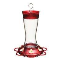 Garnet Hummingbird Feeder - GARNET GLASS HUMMINGBIRD FEEDER - 20OZ CAPACITY