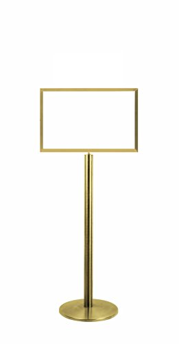 Lawrence metal 1310U-2P-1422HD-H Sign Stand, Universal Base, Heavy Duty Frame, Horizontal, Polished Brass, 14