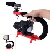 Neewer® C Shaped Video Action Stabilizing Handle Bracket for DV Camcorders DC DSLR Cameras and Point and Shoot Cameras--Red