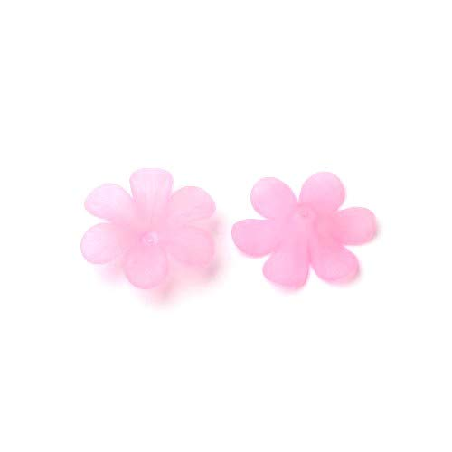Packet 20 x Pale Pink Lucite 8 x 33mm Flower Beads HA26020 (Charming Beads) ()