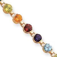 14carats 17,8cm véritable pierre rond arc-en-ciel-Bracelet Femme-Homard Griffe-16
