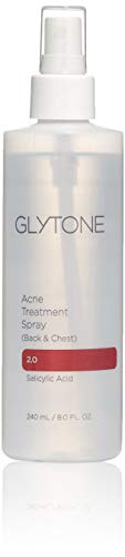 Glytone Acne Treatment Spray Back & Chest with 2% Salicylic Acid, Quick Drying, Upside Down Pump, Non-Comedogenic, Fragrance-Free, 8 ()