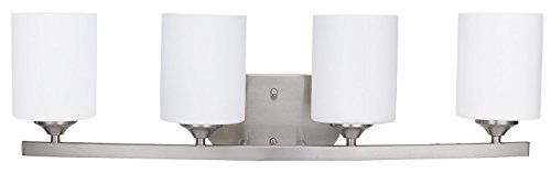 (Sunnyfair 4 Lights Vanity Fixture Bathroom Wall Mount Sconce with White Glass Brushed Nickel for Bathing Room Living Room E26, UL Listed)