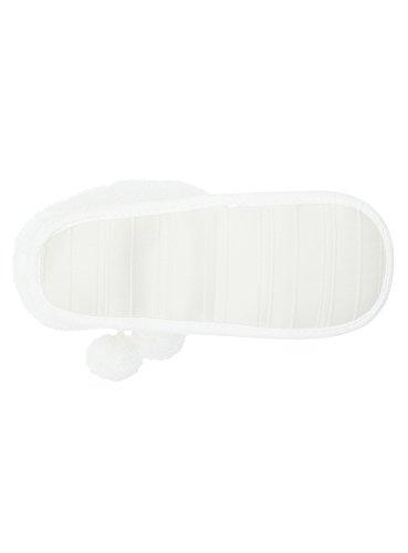 oodji Bottes Pompons avec D'Intérieur Femme Blanc 1200n Ultra rgWvqfnEr