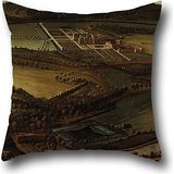Cushion Cases 20 X 20 Inch / 50 By 50 Cm(twice Sides) Nice Choice For Relatives,dining Room,family,bf,adults,family Oil Painting Leonard Knyff - The North Prospect Of Hampton Court, Herefordshire]()
