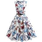 Dressffe Audrey Hepburn Dresses for Women, Butterfly Printed Vintage Pleated Sleeveless Summer White Dress with Sashes (2XL)