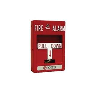 Potter RMS-2T Die Cast Metal Red Emergency Manual DPST Single Action Fire Alarm Pull Station - Single Action Station Pull
