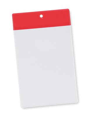 4'' x 7-1/2'' Non-Glare Vinyl Tag Holder with Red Flap and Hang Hole (8 Gauge) (50 Tag Holders) - AB-99-6-06R