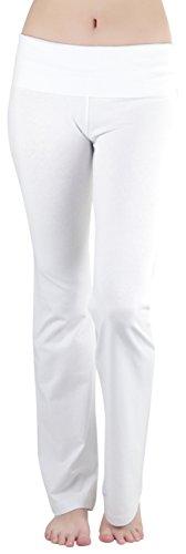 ToBeInStyle Women's Flared Bottom Full Length Leggings - White - (White Yoga Pants)
