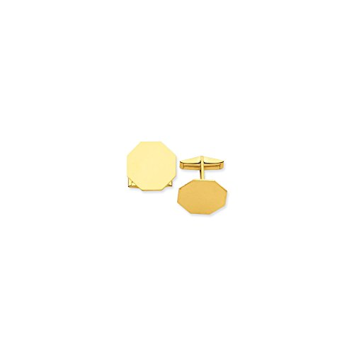 Roy Rose Jewelry 14K Yellow Gold Octagon Cuff (Rose Gold Yellow Cufflinks)