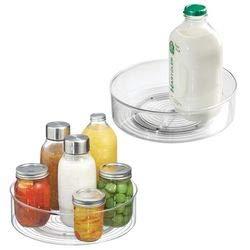 mDesign Set da 2 Lazy Susan Organizer Cucina Girevole – Contenitore Cucina per Condimenti e Contenitore Alimenti per dispensa, frigorifero, armadio, scaffali – Plastica trasparente scaffali - Plastica trasparente MetroDecor