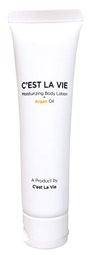 50 Bulk Pack - Moisturizing Body Lotion + Argan Oil By CEST LA VIE - 40ml / 1.35 fl oz - Travel Guest & Hotel Amenities - Individual Tubes in Eco Responsible Packaging. Paraben & Cruelty Free (White)