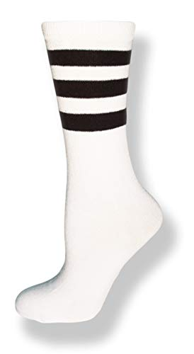 Neon Nation Unisex Calf High White Sock w/Three