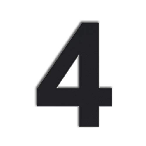 QT Modern House Number - Large 8 Inch Black - Brushed Stainless Steel (Number 4 Four), Floating Appearance, Easy to Install and Made of Solid -