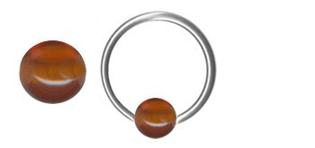 Amber Captive Bead Ring-20g-5/16 inch-8mm-Ear Piercing Hoop Body - Captive Jeweled Ring