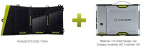 ソーラーパネルとポータブル電源のセットモデル