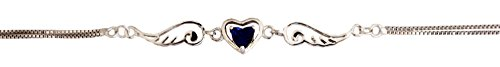 Silver Color, Angel Wing Heart Anklet - Created Blue Sapphire Cubic Zirconia (9 Inches)