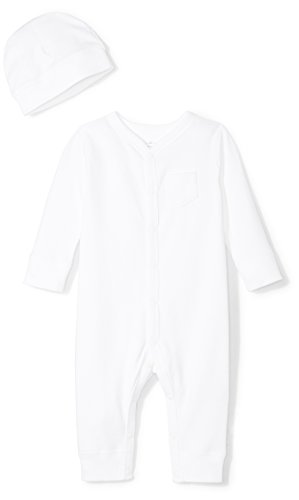 Moon and Back Baby Organic Snap-Front One-Piece Coverall with Cap Set, White Cloud, 0-3 Months (White Infant One Piece)